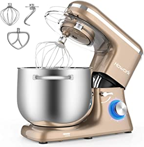 HOWORK Stand Mixer, 8.45 QT Bowl 660W Food Mixer, Multi Functional Kitchen Electric Mixer With Dough Hook, Whisk, Beater (8.45 QT, Champagne Gold)