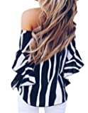 Womens Summer Sexy Off Shoulder Striped Short