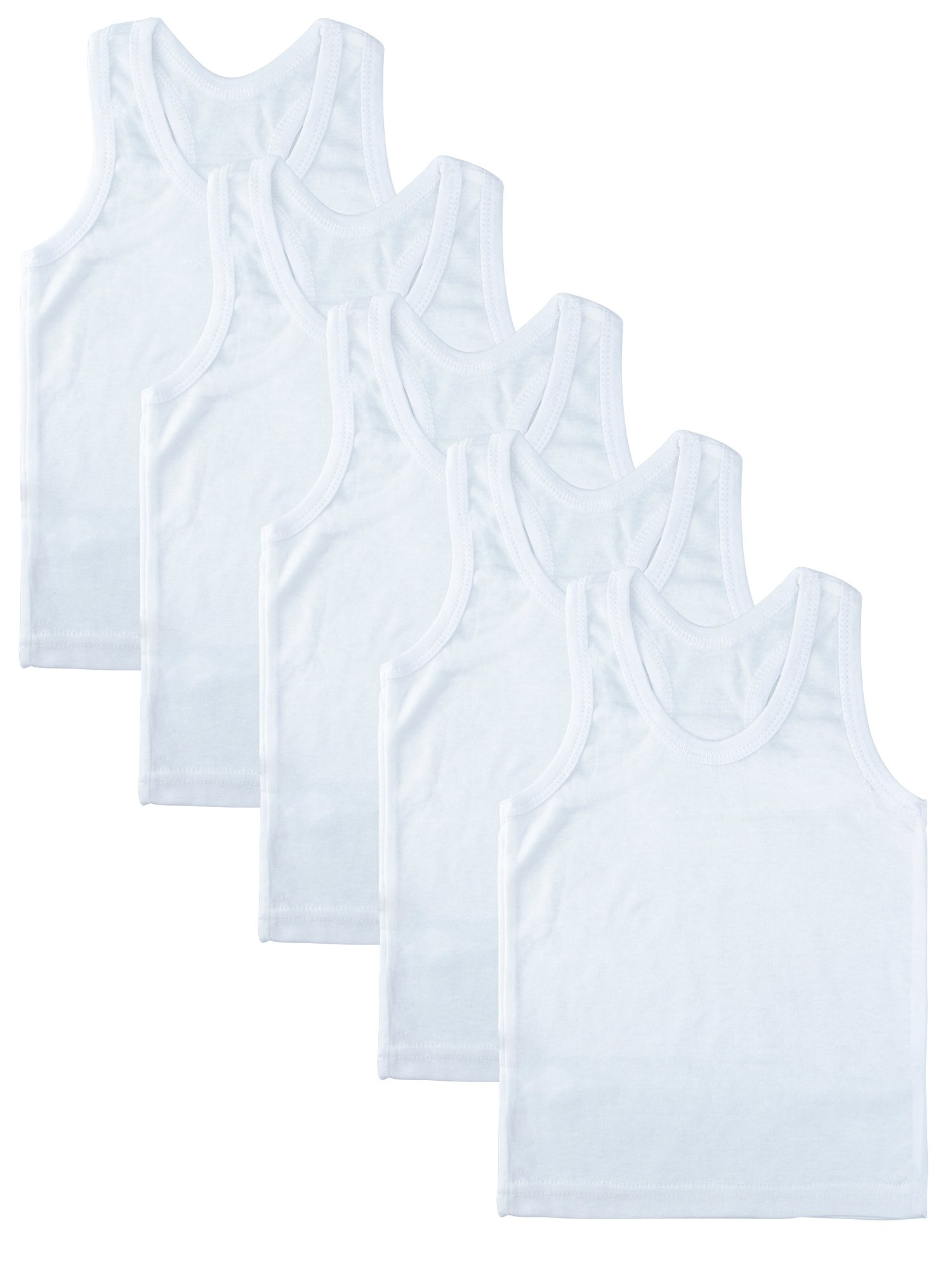 Coobey 5 Pack Toddler Kids Cotton Tank Top Undershirts Boys Or Girls Soft Undershirt Tees (2T/3T, White)