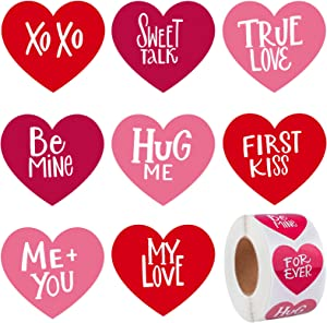 Elcoho 600 Pieces Valentine's Day Self-Adhesive Heart Shaped Stickers Heart Adhesive Decals DIY Craft Stickers for Home Decoration
