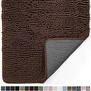 Gorilla Grip Original Indoor Durable Chenille Doormat, 48x30, Absorbent, Machine Washable Inside Mats, Low-Profile Rug Doormats for Entry, Mud Room Mat, Back Door, High Traffic Areas, Brown