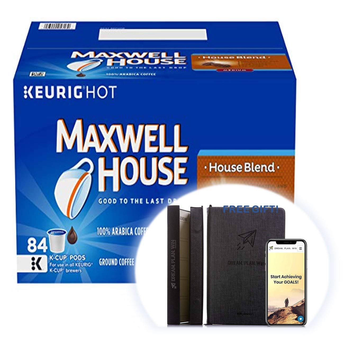 Maxwell House House Blend K-Cup Coffee Pods, 150 ct Box + FREE GIFT - PRODUCTIVITY PLANNER - Attain Your Dreams! (150 ct) by MAXWELL HOUSE (Image #1)