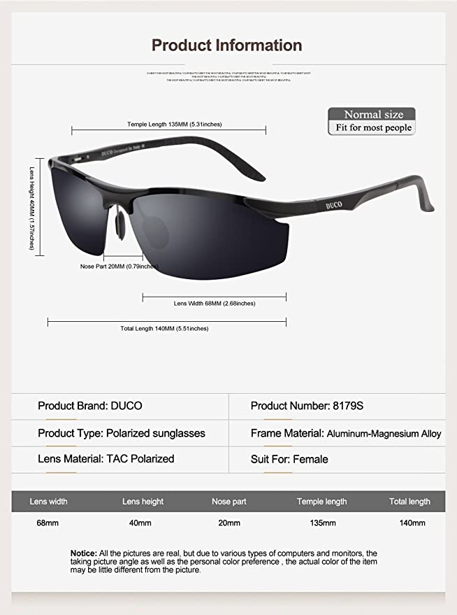 d2b7abb6db Duco New Release Polarized Sunglasses For Cycling Fishing Shades 8179S  (Gunmetal Frame Grey Lens)  Amazon.co.uk  Clothing
