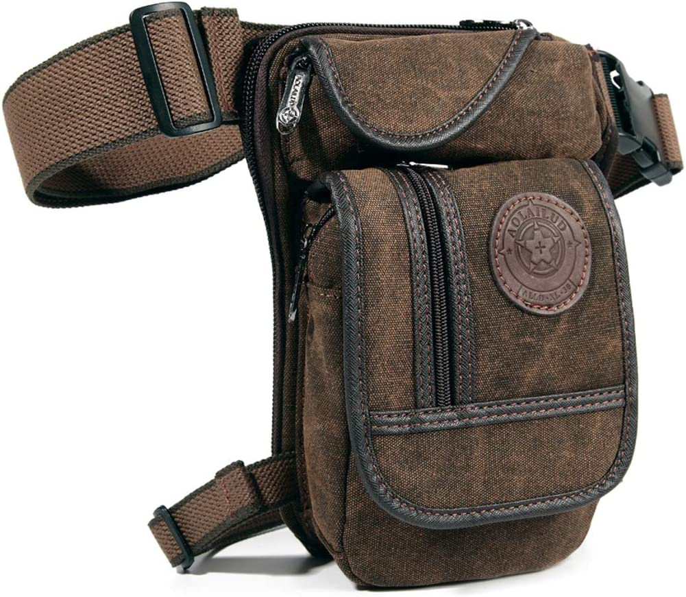 A photo of a brown drop-leg bag with front flap with zipper