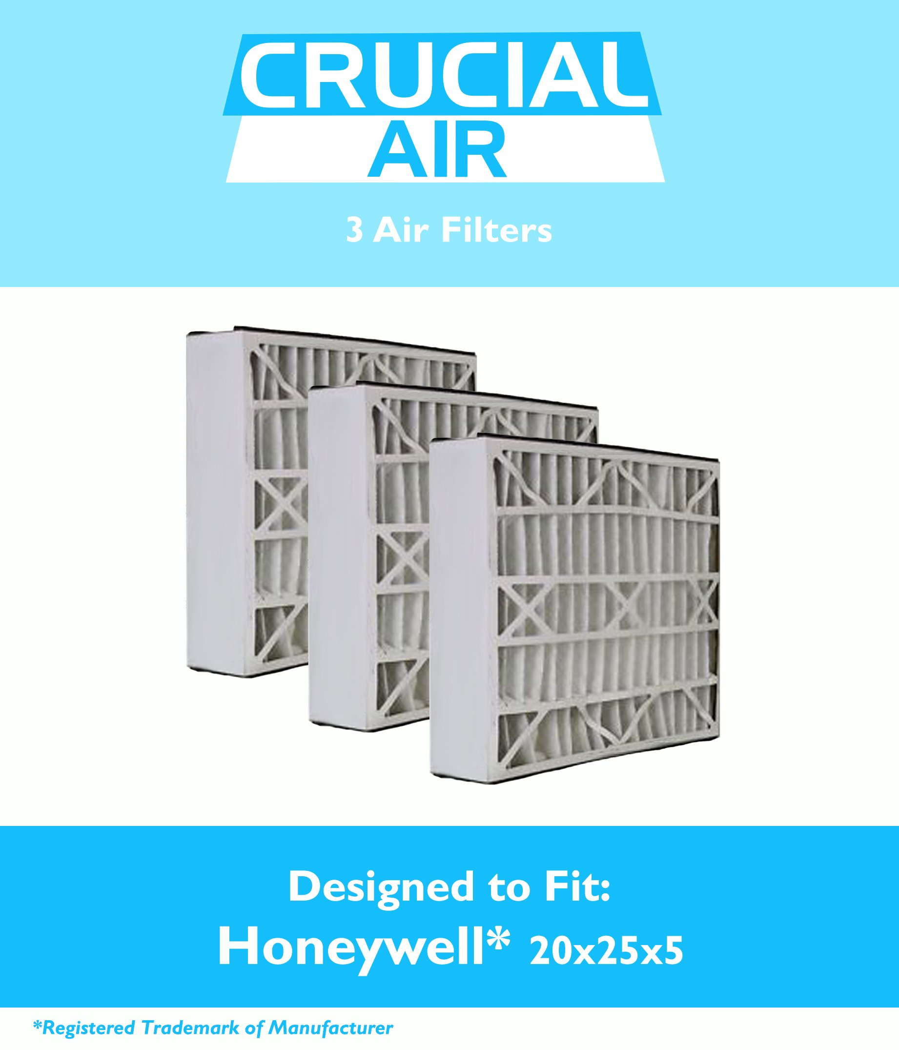 Think Crucial 3 Replacements for Honeywell 20x25x5 FC100A1037 Merv 8 Furnace Air Filter by Crucial Air (Image #1)