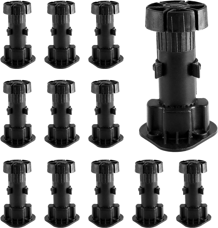 Jiozermi 12 Pack Adjustable Furniture Legs, Cabinet Leveler Legs, Adjusts from 3-7/8