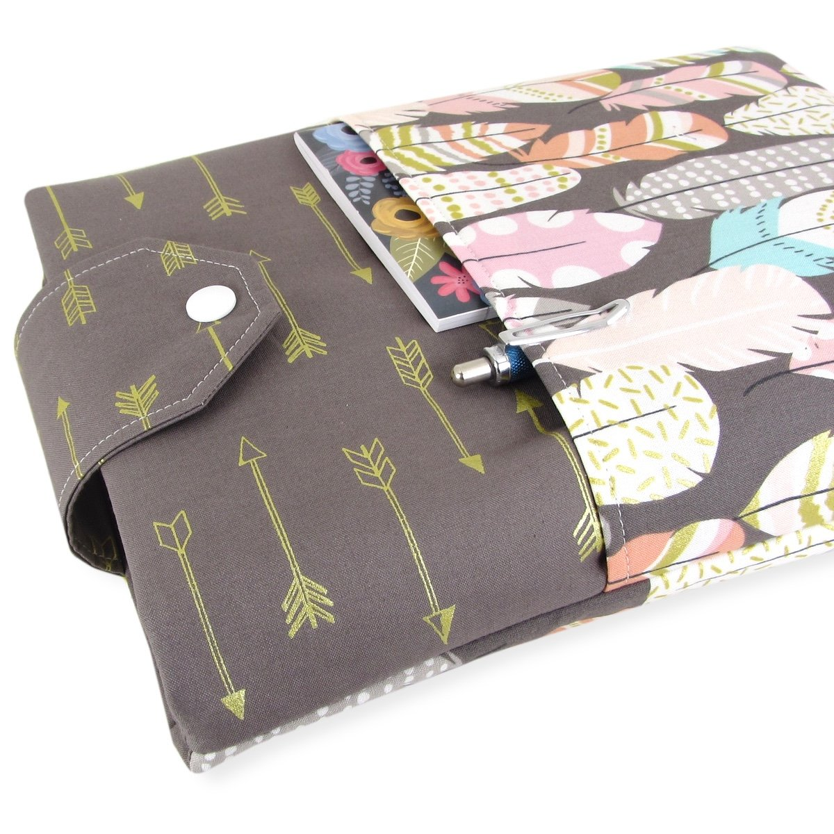 Handmade Feather Arrow Fabric Book Sleeve - Padded - Perfect For Hardbacks Or Large Paperbacks