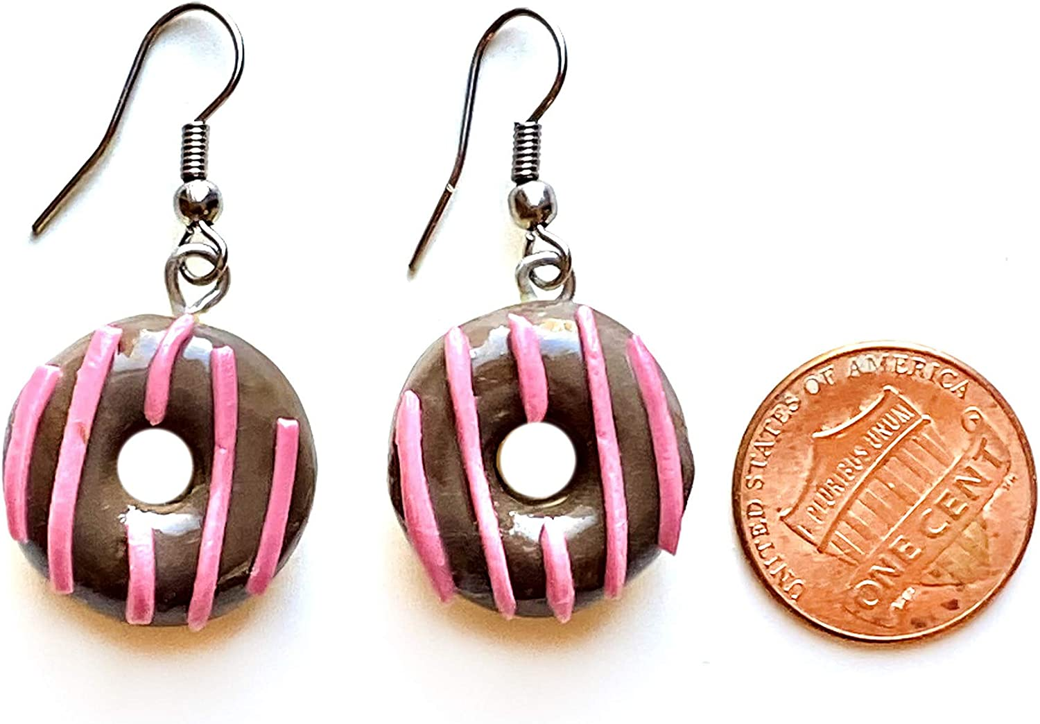 Sunne Tropical Handmade Doughnut Earrings | Food Miniature 3D Colorful Donut Drop Dangle Jewelry | Girls Teen | made with Polymer Thai Clay pack in RANDOM COLOR Giftbox Chocolate Line