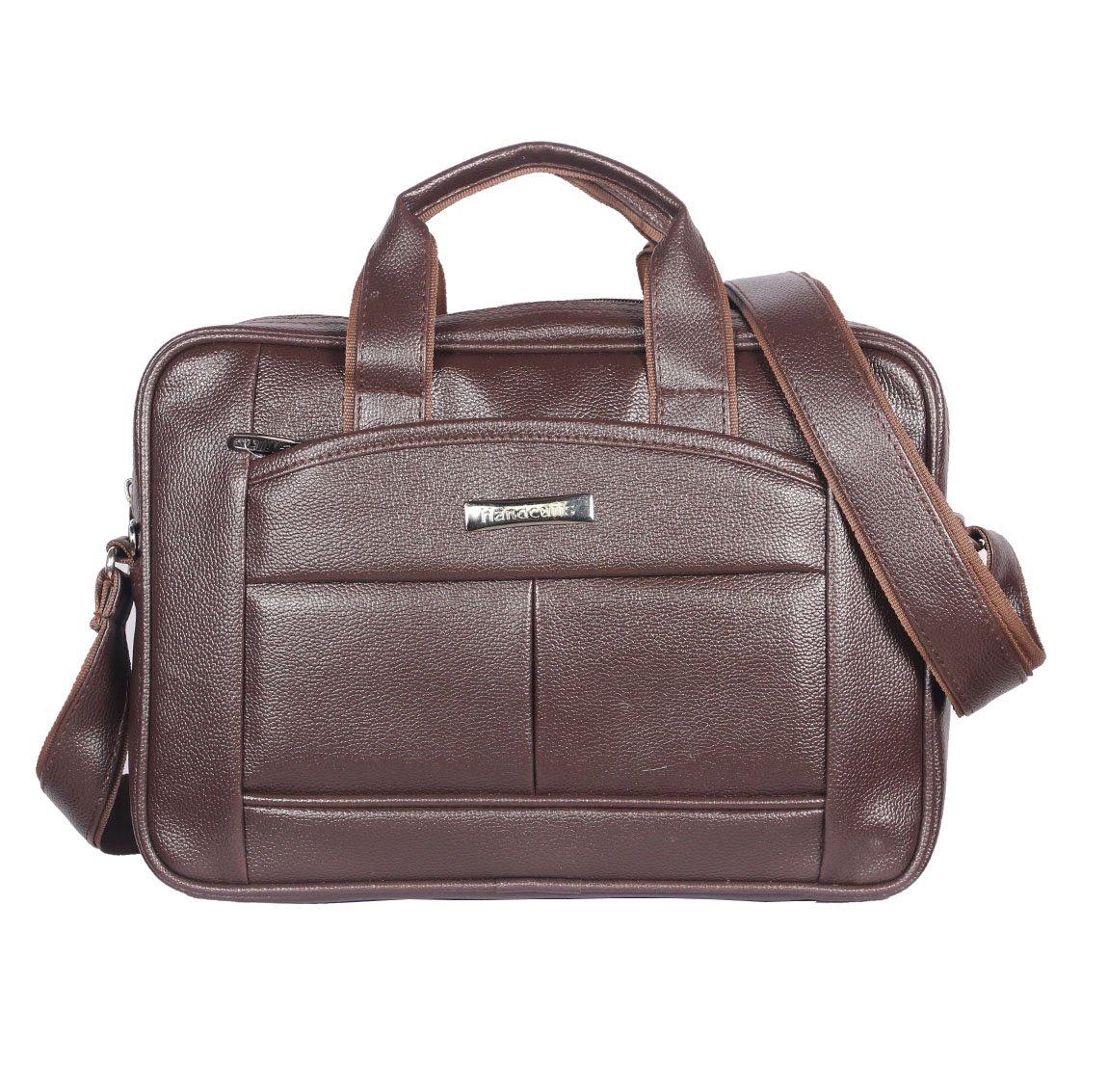 Handcuffs 14 inch Brown Leather Office Laptop Bag for Men  BFLAPBA GBR1  Laptop Messenger   Shoulder Bags