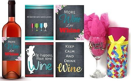 Juego de etiquetas para copas de vino y vino, regalo para los ...