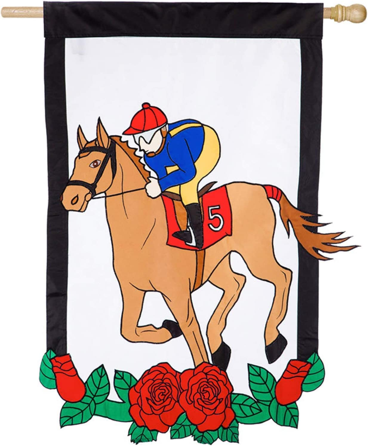 Evergreen Flag Red Derby Horse Race House Flag - 28 x 44 Inches Outdoor Decor for Homes and Gardens