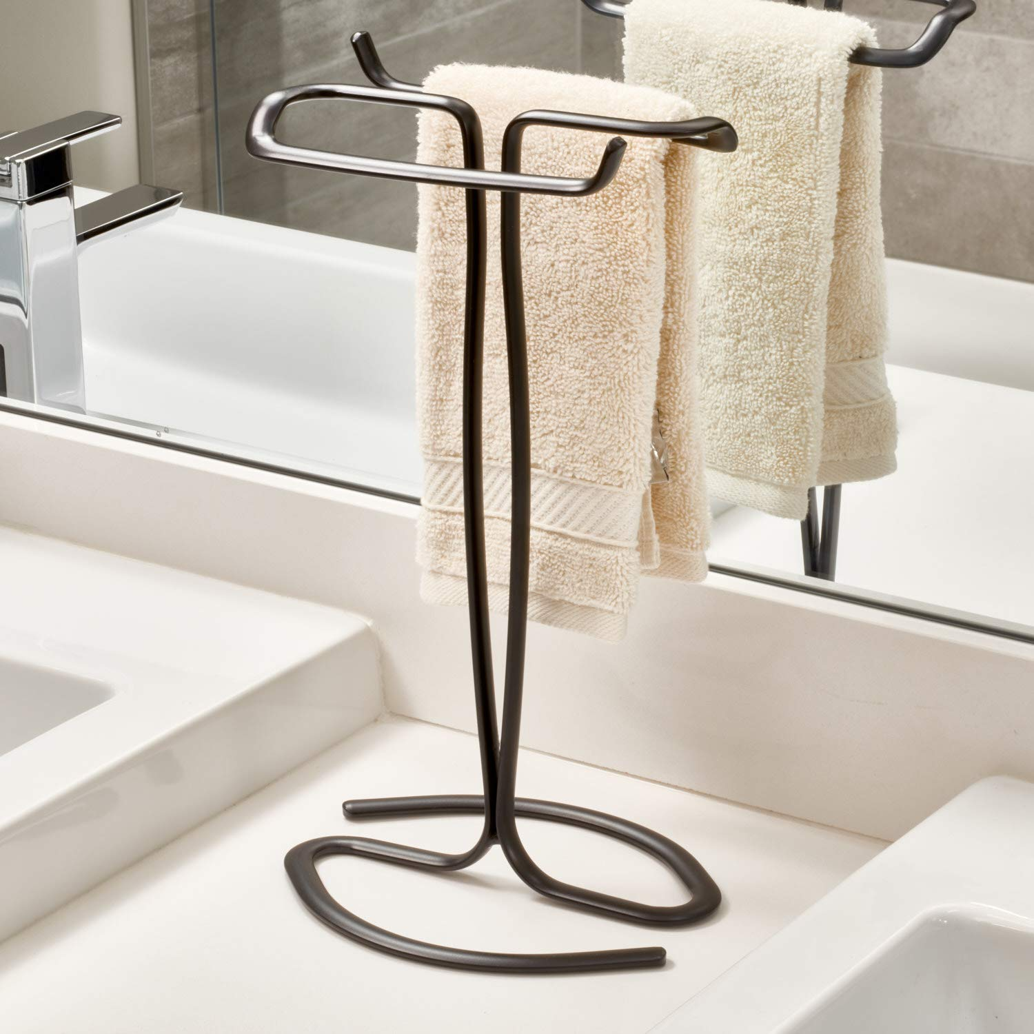 iDesign Axis Metal Free-Standing Hand Towel Drying Rack