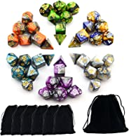 Smartdealspro 6 x 7 Sets(42 Pieces) Two Colors Polyhedral Dice with Free Pouches for Dungeons and Dragons DND RPG MTG Table