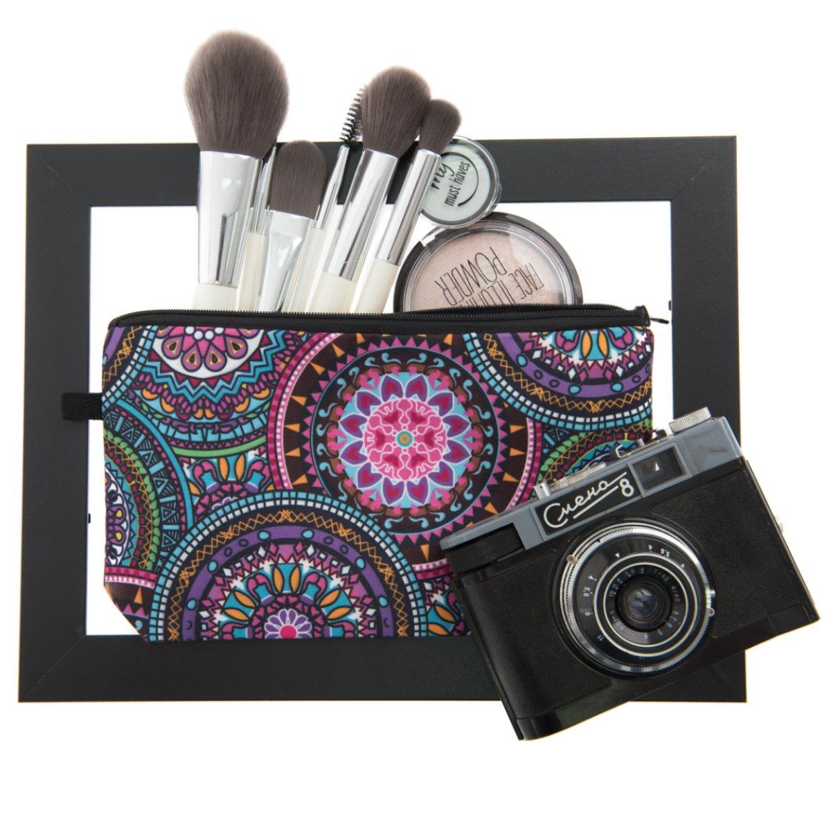 PREMYO Neceser de Maquillaje Estuche Escolar Pochette para Cosméticos Bolsa de Aseo Pequeña Práctico Estampado Impresión Diseño Mandala