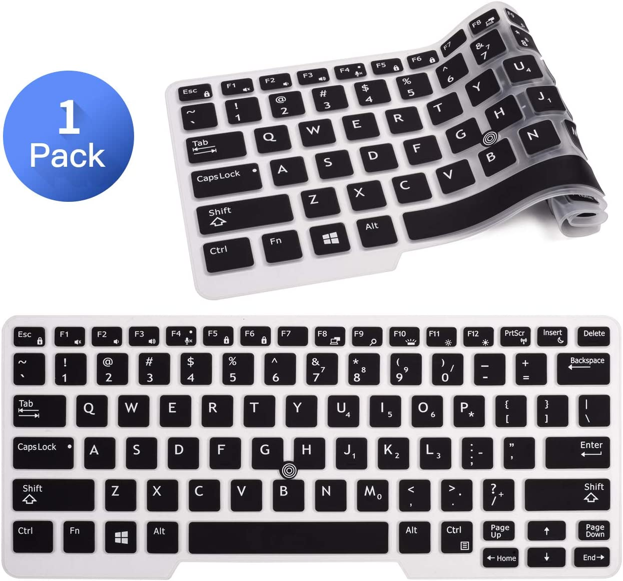 "Keyboard Cover Compatible with 14"" Dell Latitude E7450 E7470 E5470 E7480 5480 5490 7480 7490 with Pointing, Ultra Thin Soft Silicone Dell Latitude 14 Keyboard Protector Skin(Black)"
