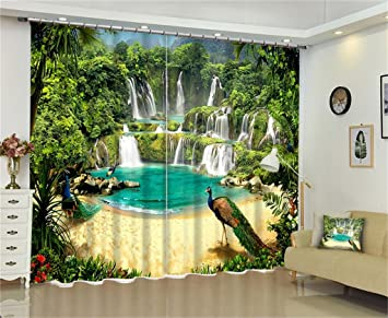 XFKL 2 Panels Room Darkening Blackout Curtains Natural Landscape Waterfall Scenery