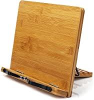 Bamboo 書架,wishacc 可調節書架托盤和紙夾 - 食譜閱讀桌便攜式堅固輕質書架 - 課本書架 - 音樂書籍 平板電腦 烹飪食譜架