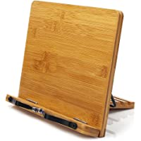 Bamboo Book Stand,wishacc Adjustable Book Holder Tray and Page Paper Clips-Cookbook Reading Desk Portable Sturdy…