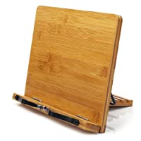 Bamboo Book Stand,wishacc Adjustable Book Holder Tray and Page Paper Clips-Cookbook...