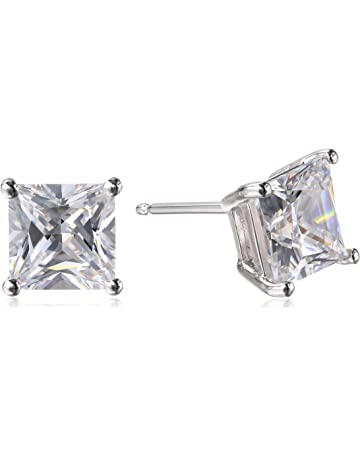 52320ce960d3 Amazon Essentials Plated Sterling Silver Cubic Zirconia Stud Earrings  (Round   Princess)