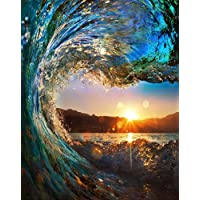 Wowdecor Paint by Numbers Canvas Kits for Adults Beginner Kids, DIY Acrylic Number Painting - Sunset Sea Waves Seascape 16x20 inch - Wall Art Digital Oil Painting Home Decor Christmas Gifts