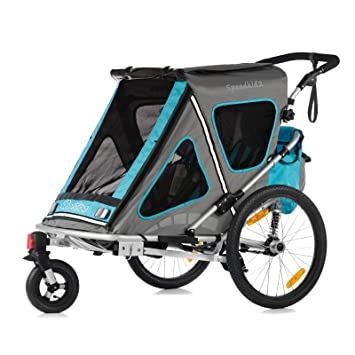 Qeridoo Speedkid2 - Carrito-remolque de bicicleta 2 en 1 para niños, se puede de usar como carrito manual, azul: Amazon.es: Deportes y aire libre