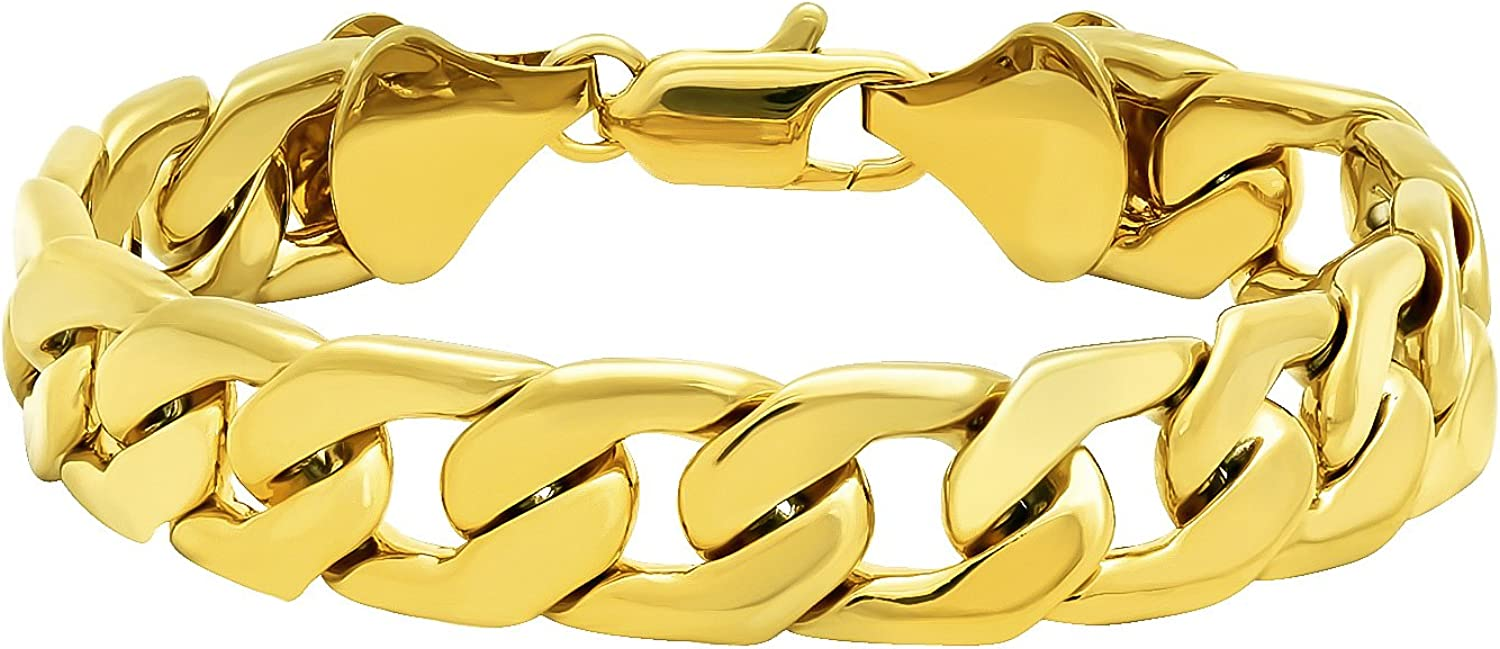 The Bling Factory 11.5mm 0.25 mils (6 microns) 14k Yellow Gold Plated Beveled Curb Chain Bracelet, 7'-9 + Jewelry Cloth & Pouch
