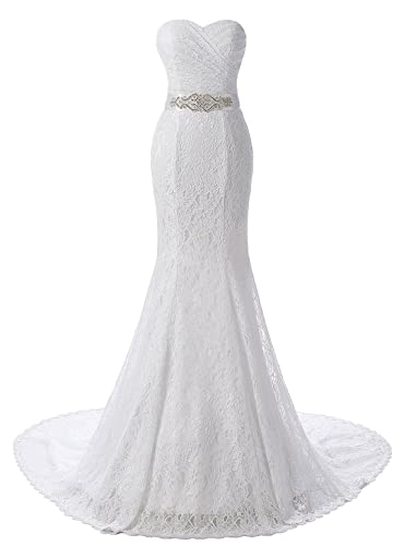 Yinyyinhs Women's Sweetheart Lace Ruffles Mermaid Wedding Dresses Bridal Gowns