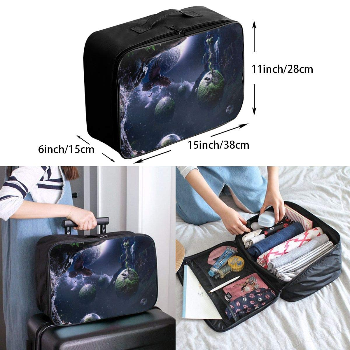 Travel Luggage Duffle Bag Lightweight Portable Handbag Fantasy Birds Large Capacity Waterproof Foldable Storage Tote