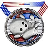 Gold, Silver or Bronze Bowling Color Medal - Come with Exclusive Decade Awards Stars and Stripes American Flag V Neck Ribbon - 2.5 inch wide - Made of Metal - Perfect for Bowling Tournament