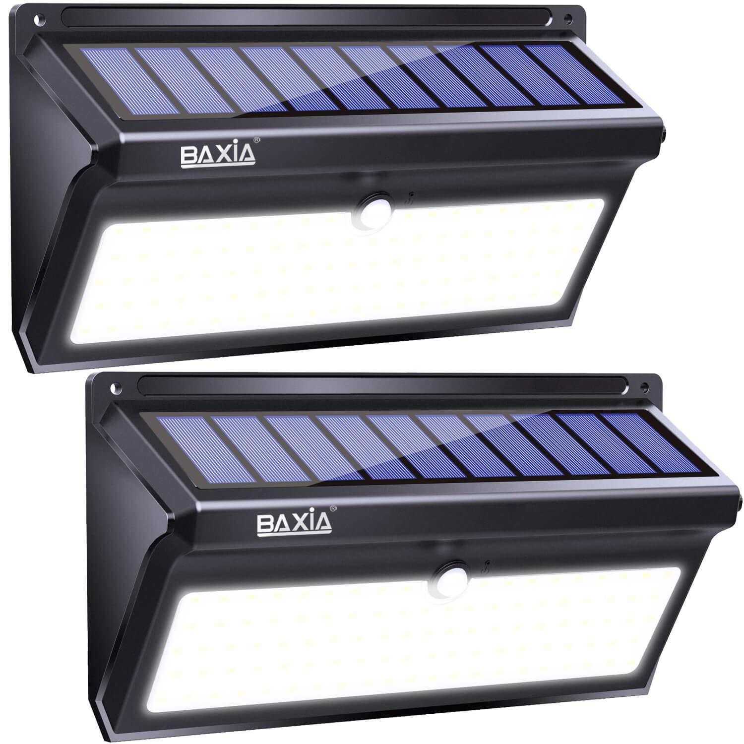 BAXIA TECHNOLOGY Solar Lights Outdoor, 100 LED Solar Motion Sensor Lights With Wide Angle, Upgraded Waterproof Super Bright Security Solar Wall Lights for Garden, Fence, Front Door, Yard, 2 Pack
