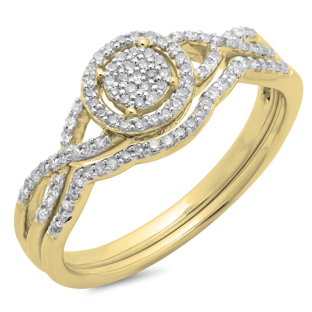 0.25 Carat (ctw) 10K Yellow Gold Diamond Twisted Split Shank Engagement Ring Set 1/4 CT (Size 7)