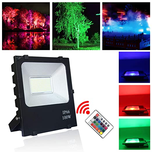 HENGMEI Foco proyector LED 100W RGB reflector Impermeable IP66 ...