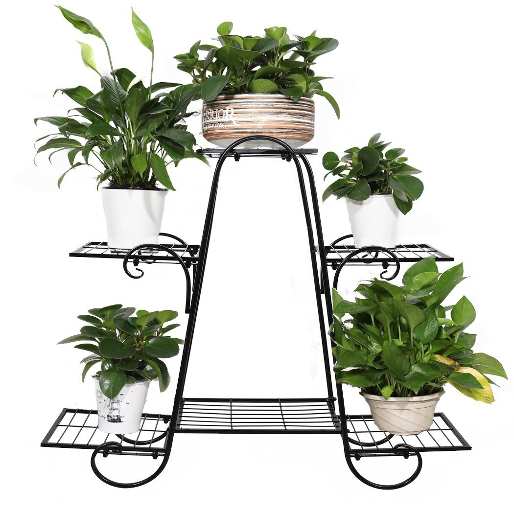 UNHO Plant Stand 6 Tier European-Style Iron Flower Pot Stands Shelves Garden Tiered Plant Display Holder for Outdoor & Indoor