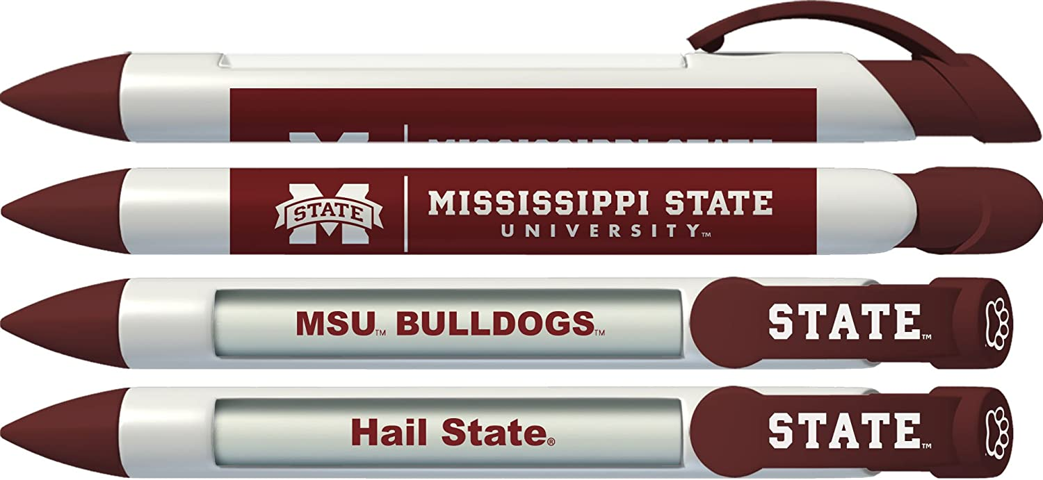 Mississippi State University Bulldogs Greeting Pen Rotating Message Pens - 4 Pack (8036) Officially Licensed Collegiate Product