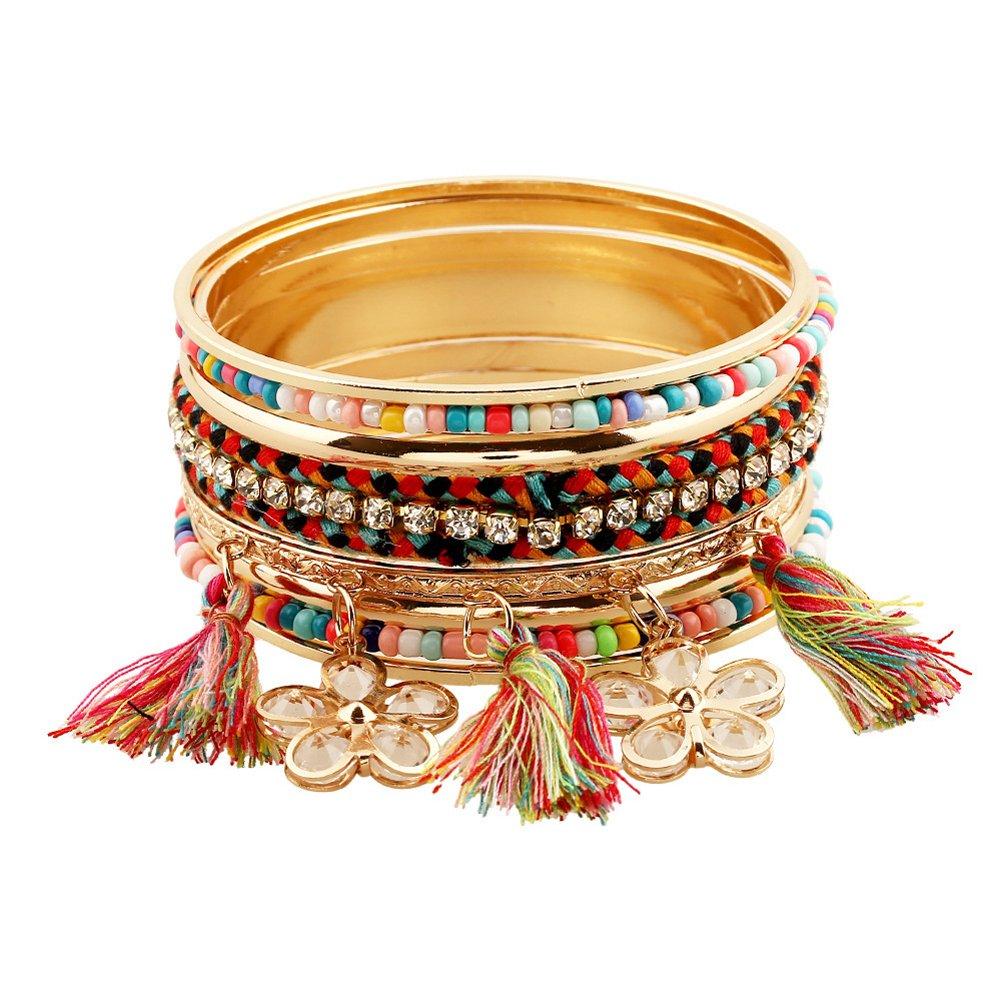 Vintage 5unidades multi capa pulseras turquesa triángulo nudo apilable abierta Cuff pulsera brazalete Set Mujeres