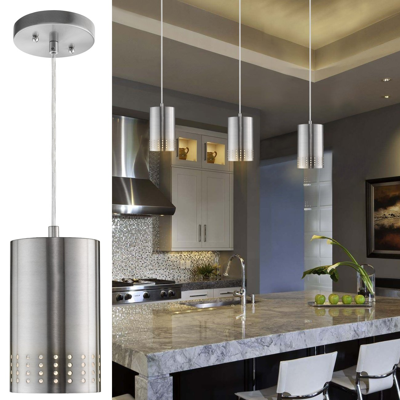 LANROS Adjustable Mini Pendant Light, Modern Hanging Lights with Perforated Cylindrical Metal Shade for Kitchen Island, Living Room, Brushed Nickel Finish, 1-Pack by LANROS