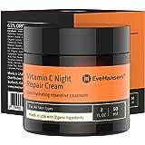 2oz Vitamin C Night Repair Cream by Eve Hansen - Anti Aging Face Moisturizer with 10% Vit. C Vitamins E & B5