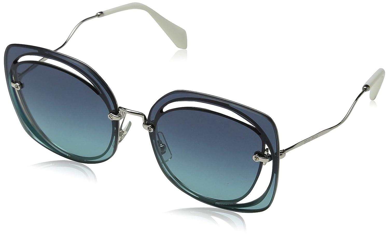 7fe66aeb6a7 Miu Miu MU54SS Scenique Evolution Square Sunglasses BC5R2 Silver Blue Size  64 at Amazon Men s Clothing store