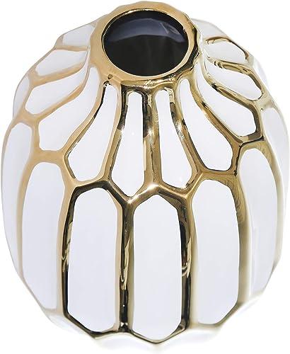 Sagebrook Home 12540-04 Ceramic Vase 8 , White Gold, 5.75 x 5.75 x 8 inches