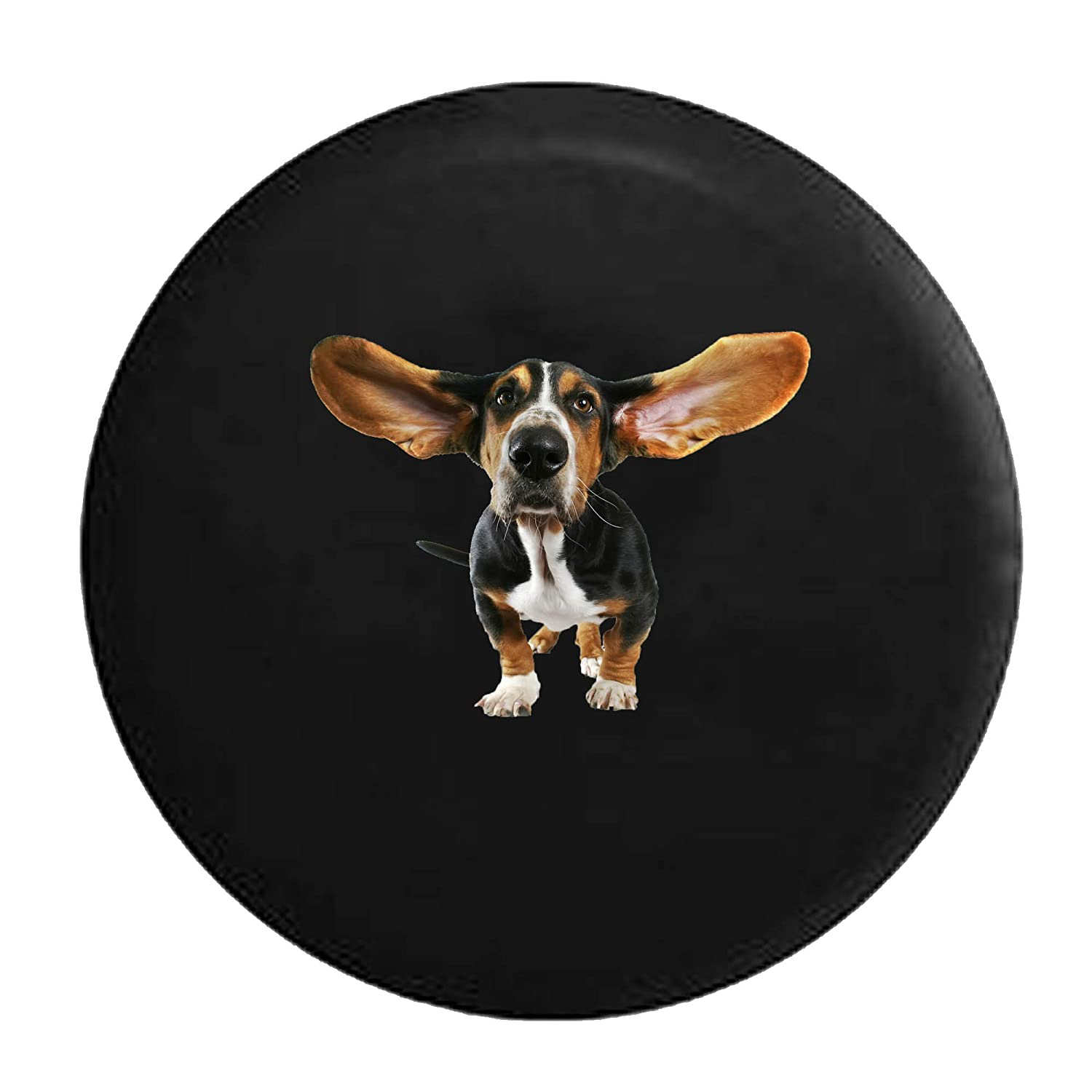 Basset Hound Dog Ears Blowing in the Wind Tire Cover Black 26-27.5 in Pike Outdoors