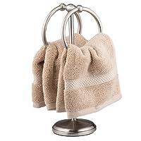 AMG and Enchante Accessories Free Standing Fingertip Hand Towel Ring Holder Tree Rack TT100001 SNI Satin Nickel