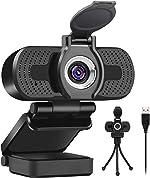 Larmtek 1080p Full Hd Webcam with Webcam Cover,Computer Laptop Pc Mac