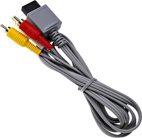 1,8 m Cable AV para Nintendo Wii Consola compuesto 3 RCA de vídeo HD tv cable lead Scart, Color Rojo, Amarillo y Blanco: Amazon.es: Hogar