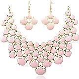 Jane Stone Damen Halskette in verschiedenen Farben geometrische Statement Kette Modeschmuck Collier aus Resin und Metalllegierung