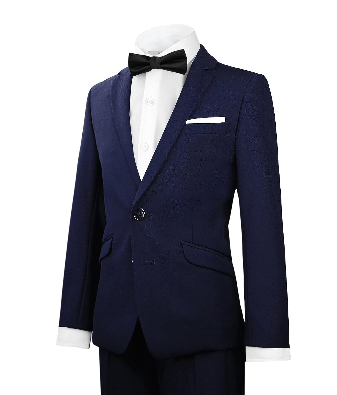 Black n Bianco Signature Boys' Slim Tuxedo Suit with Bow Tie