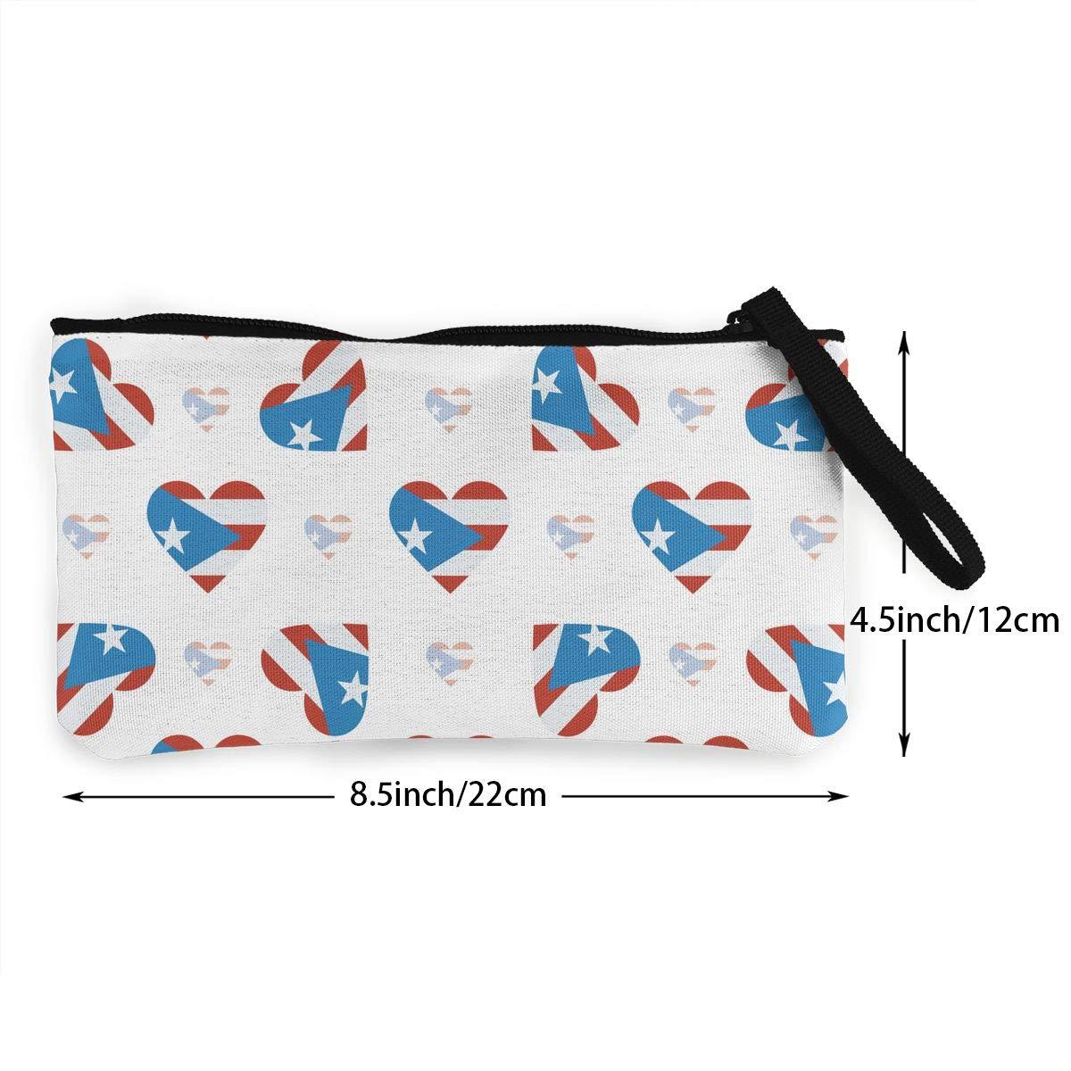Puerto Rico Flag Heart Pattern Canvas Change Coin Purse Retro Change Cash Bag With Zip