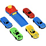 Car Launcher Race Track Play Set for Kids Includes Push Button Car Launcher & [5] Assorted Die Cast Toy Cars for Hours of Super Stunt Action! - Recommended for Toddlers Ages 3+