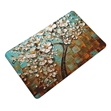 LivebyCare Oil Painting Floral Thin Door Mat Flannel Antislip Doormat Entry Decor Front Entrance Indoor OutThin Door Mats for Inside Outside Aisle Passage Porch