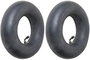 "4.10/3.50-4 Premium Replacement Inner Tube (2 Pack) - Heavy Duty Angle Valve 4.10 x 3.5 - 4 Tube for 10"" Pneumatic Tires, Hand Trucks, Dolly, Lawn Mowers, Wheelbarrows, Generators, Utility Carts"